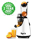 Argus Le Cold Press Juicer, 3'' Big Month Whole Slow Masticating Juicer, Easy Cleaning Slow Juicer, 75mm Wide Chute Vertical Juicer Machine