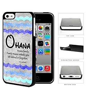 Ohana Means Family Blue Color Tone Waves iPhone 5c Hard Snap on Plastic Cell Phone Cover