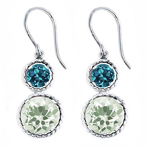 4.50 Ct Round Green Amethyst London Blue Topaz 925 Sterling Silver Earrings