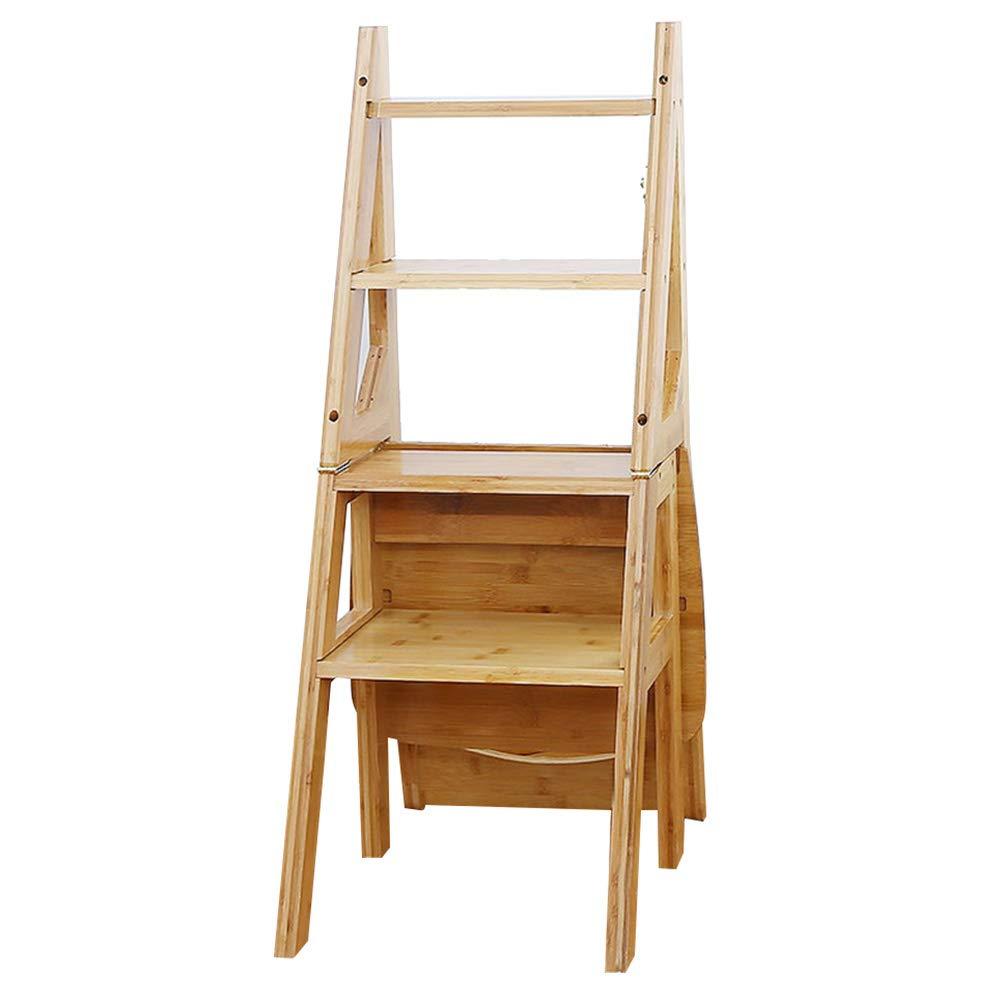 LIXIONG Escalera Plegable Casa Escalera Multifunción De Bambú, Diseño Deformable, Rodamiento 100KG, 38x62x90cm (Tamaño : 38x62x90cm): Amazon.es: Hogar