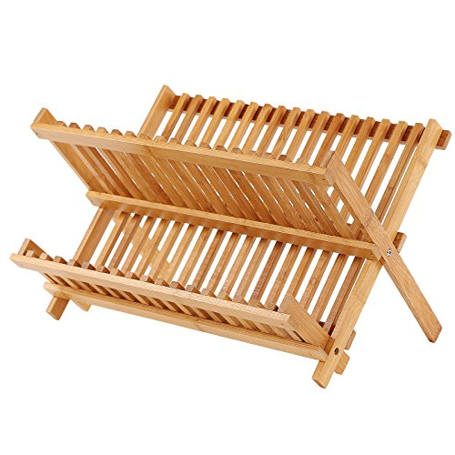 SONGMICS 18 Slot Dish Drying Rack,Bamboo Collapsible Dish Drainer,2-Tier Plate Rack,Folding Cup Holder,Ideal for Holds 18 Dish 3-6 Cups UKAB901-1 (Upright 6 Rack 3 Flat)