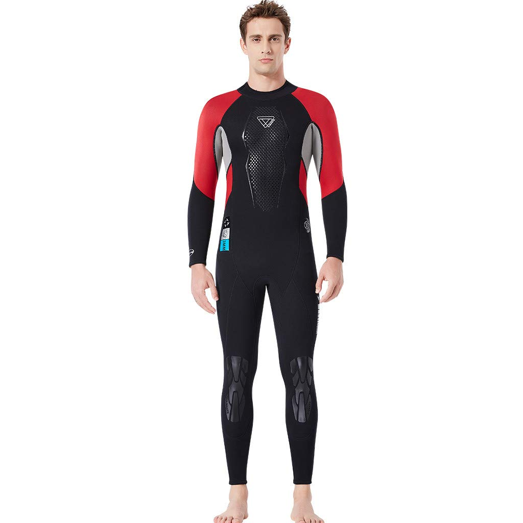 FEDULK Mens Wetsuit 3mm Full Suit Stretch Diving Suit Swim Surf Snorkeling One Piece Wetsuit for Water Sport(Red, Large) by FEDULK