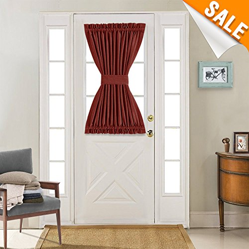 Lazzzy Privacy French Door Curtain Panel with Single Tie Back Thermal Insulated Flax French Door Panel Curtains (40L Inches, Burgundy, 1 Panel) (Back Panel Door Tie)