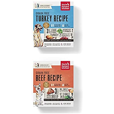 Honest Kitchen Grain Free Dehydrated Dog Food 2 Pack Bundle; Turkey, Beef. 2 Lbs. Each (4 Lbs Total)