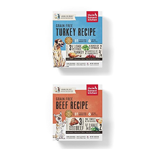 Honest Kitchen Grain Free Dehydrated Dog Food 2 Pack Bundle; Turkey, Beef. 2 lbs. ea. Fast Delivery 4 lbs. Total by Honest Kitchen