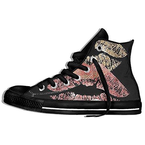 Baskets Montantes Classiques Chaussures De Toile Anti-dérapant Lèvres Colorées Casual Marchant Pour Hommes Femmes Noir