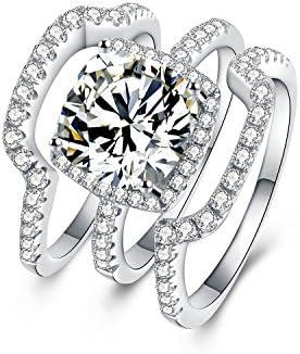 Wild D Silver Bridal Engagement Ring Sets 3pcs 3 Carat D E F Color