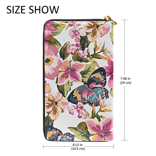 Butterfly Purses And TIZORAX Clutch Handbags Floral Wallet Around Leather Womens Zip Organizer q6qdXwO
