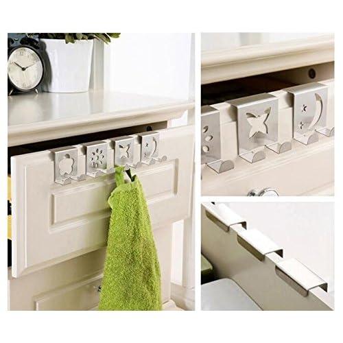 4Pcs/Set Cartoon Figures Over Door Hooks Drawer Hook High-Grade Stainless Steel Back Door Hook Rack Hanger For Clothes Bag Hat outlet