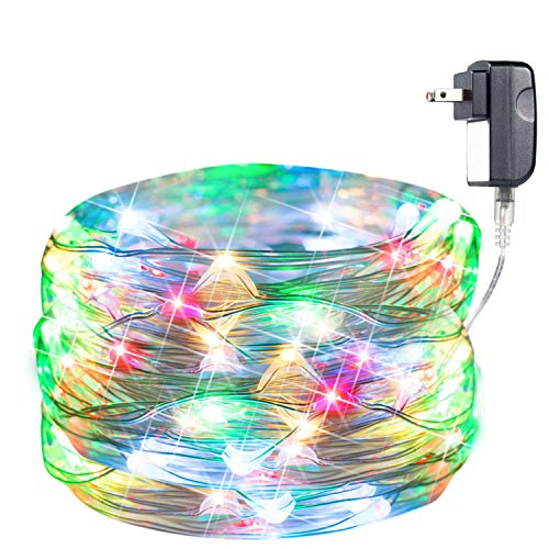 40Feet 120 LED Lights on Silver Copper Wire, Starry String Lights, Indoor/Outdoor Waterproof Decoration Lights for Gardens, Home, Dancing, Party (Multi)