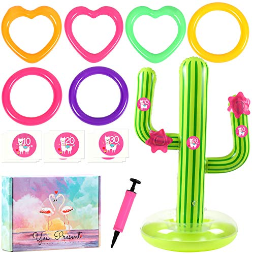 G.C 16 Pcs Inflatable Cactus Ring Toss Game Toys Sets for Kids Cactus Float Pool Toys for Luau Beach Party Supplies Outdoor Indoor Summer Games for Kids Adults Family (Ring Game Cactus Toss)