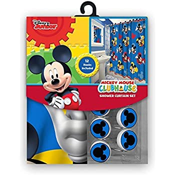 All New Fabric Shower Curtain Set Disney 12 Matching Hooks Mickey