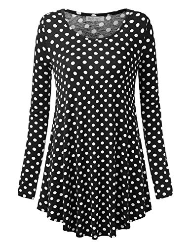 Polka Dots Tunic Dress - BaiShengGT Women's Round Neck Printed Loose Fit Casual Blouse Top Tunic Shirt Black Dot L