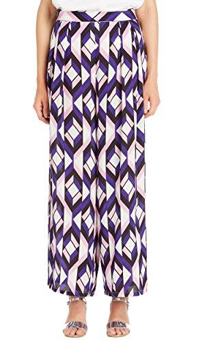 LILYSILK Women's 100 Pure Silk Trousers Wide Leg 19MM Geo Print for Ladies Designer Fashion Summer Geo Print Purple XXL/18-20 by LilySilk