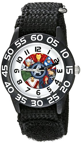 Marvel Kids' W002624 Avengers Time Teacher Analog Display Analog Quartz Black Watch ()