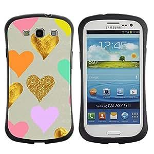 """Pulsar iFace Series Tpu silicona Carcasa Funda Case para SAMSUNG Galaxy S3 III / i9300 / i747 , Azul de oro de la hoja rosa del amor de San Valentín para niños"""""""