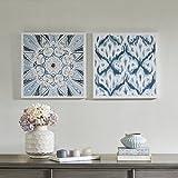 Décor 5 - Printed Canvas Set - 2 Pieces, 18'' x 18'' - Ikat Watercolor Geometric Pattern - Dark Blue, White
