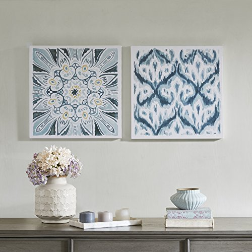 Décor 5 - Printed Canvas Set - 2 Pieces, 18'' x 18'' - Ikat Watercolor Geometric Pattern - Dark Blue, White