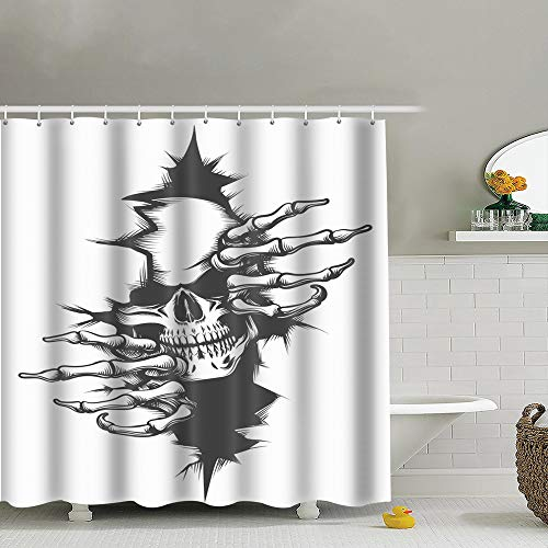 best bags Human Skull Peeping Through Hole Drawn Polyester Fabric Shower Curtain Bathroom Curtain Hook 72X72 Inch -