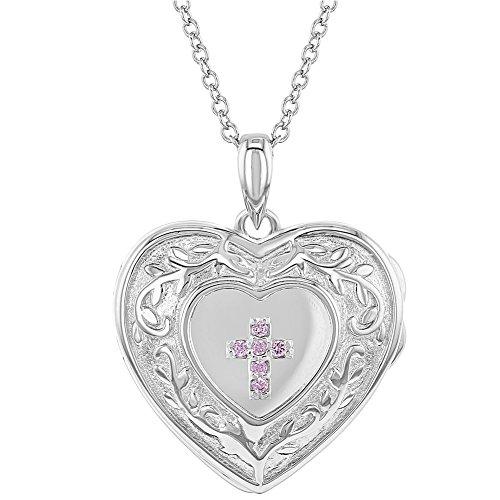 925 Sterling Silver Pink CZ Cross Heart Locket Pendant Necklace for Girls (Pendant Locket Necklace)
