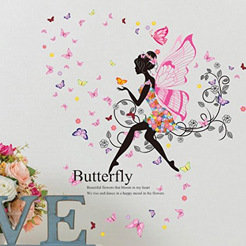 Usstore 1PC Butterfly Flower Fairy stickers Home Decor Removable Wall Stickers Art Decor For Walls Ceramics Glass Window Living Home kid Room - Switchplate Decor Home Ceramic Light