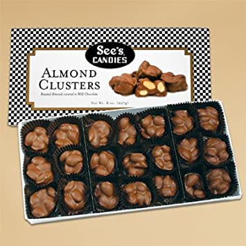 amazon com see s candies 8oz almond clusters nut cluster candy