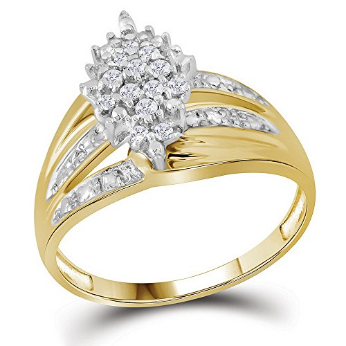 (10k Yellow Gold Flower Diamond Cocktail Ring Marquise Shape Band Fashion Cluster Style 1/5 ctw Size 7)