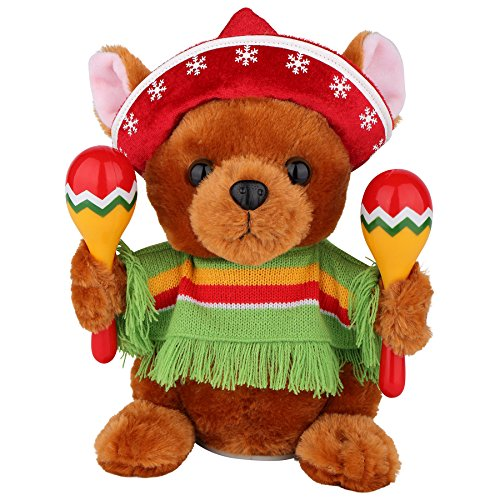 Christmas Mariachi Band Stuffed Puppy Dog with Maracas Singing