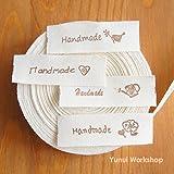 "2 metres / 10 metres: Cotton Fabric Label Handmade and Zakka Logo Brown 0.56"" (15mm) Cut & Sew Scrapbooking Craft DIY (Brown, 10 metres)"
