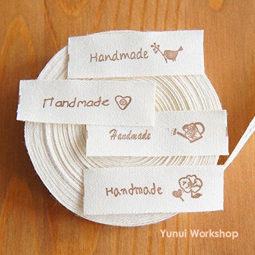 "2 metres / 10 metres: Cotton Fabric Label Handmade and Zakka Logo Brown 0.56"" (15mm) Cut  Sew Scrapbooking Craft DIY (Brown, 10 metres)"