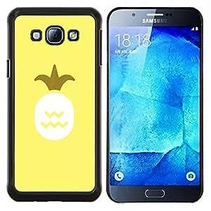 Rey Piña 420 Amarillo Smoke Weed- Metal de aluminio y de plástico duro Caja del teléfono - Negro - Samsung Galaxy A8 / SM-A800