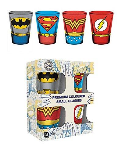 DC Comics - Justice League Costumes - 4 Piece Shot Glass / Shooters Set (Batman, Superman, Wonder Woman, Flash)