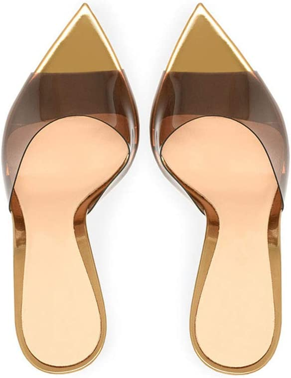 MAG.AL Femmes Pointu Bouche de Poisson PU Sandales à Talons Hauts, Transparent PVC Bout Ouvert Talon Fin des Sandales, pour Un Pantalon, Jupe golden