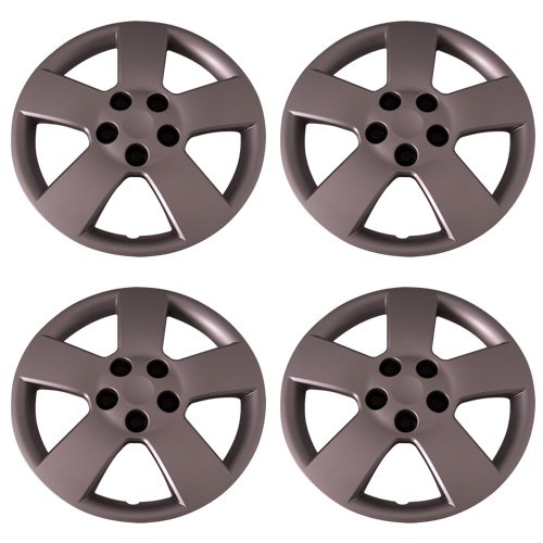 Set of 4 Silver 16 Inch Aftermarket Replacement Hubcaps with Bolt On Retention System - Part Number: IWC459/16S Bolt On Hubcaps