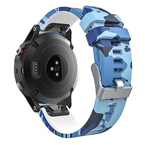 MoKo Garmin Fenix 5 Quick Fit 22mm Watch Band, Soft Silicone Replacement Strap for Garmin Fenix 5/5 Plus/Fenix 6/6 Pro/Instinct/Forerunner 935/Aproach S60 Smart Watch, Sea Blue Camouflage