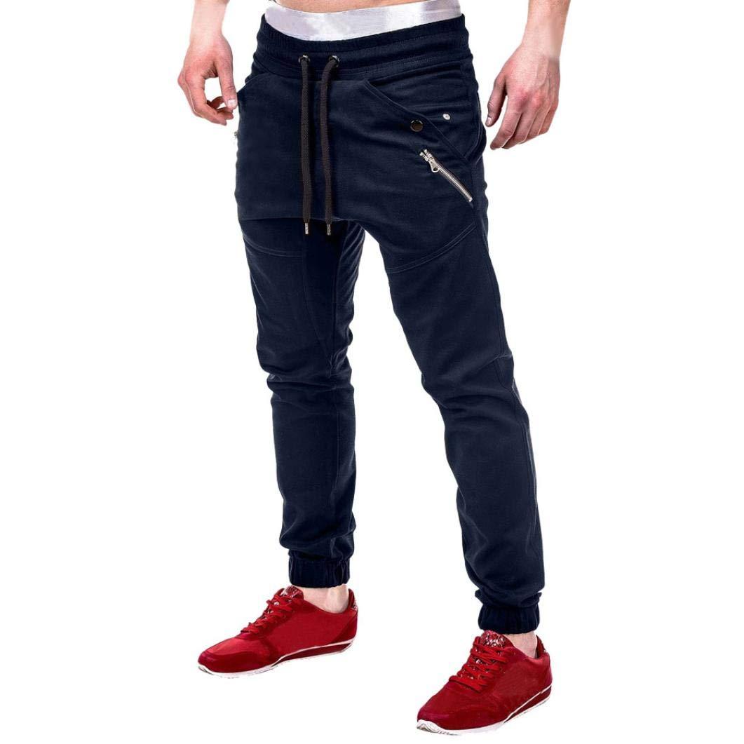 NREALY Pants Men's Fashion Zipper Patchwork Cotton Casual Sweatpants Drawstring Pant(M, Navy)