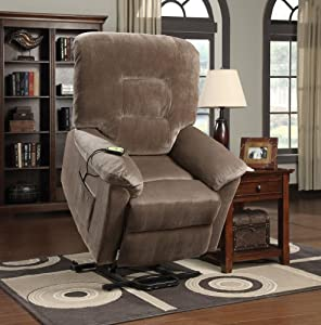 Brown single reclining chair with side pocket and remote