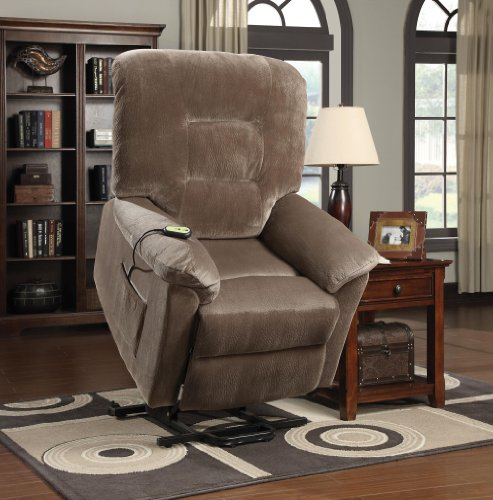 Coaster Home Furnishings Power Lift Wall Hugger Recliner Chair - Brown Sugar Textured Padded Velvet Electric Recliner Power Lift Chair