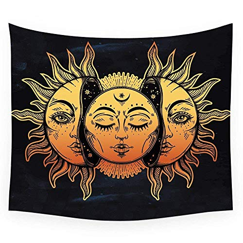 HL Wall Tapestry, Moon and Sun Face Pattern Fabric Wall Tapestry Hanging for Bedroom Living Room Dorm Handicrafts Beach Cover Up Curtain Polyester Wall Decor(60 x 80 Inch, Moon and Sun) by Hongxiu Lighting Direct (Image #8)