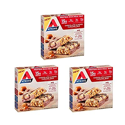 Atkins Protein-Rich Meal Bar, Chocolate Almond Caramel, Keto Friendly, 5 Count