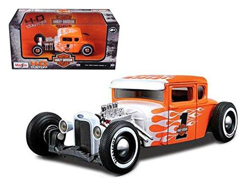 Maisto 1929 Ford Model A Harley-Davidson #1, Orange w/ Flames HD 32175 - 1/24 Scale Diecast Model Toy Car (Harley Davidson Toy Box)