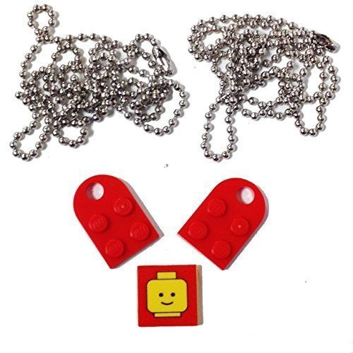 Lego Parts: Valentine Heart Necklace/Keychain Bundle Kit (2) Red Modified 3 x 2 Plates with Hole (1) Decorative Tile (2) 24