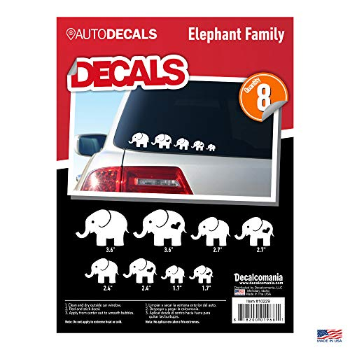 Elephant Family White Car Truck Window Stickers 2 Adults 6 Children 8 Decals Animal ()