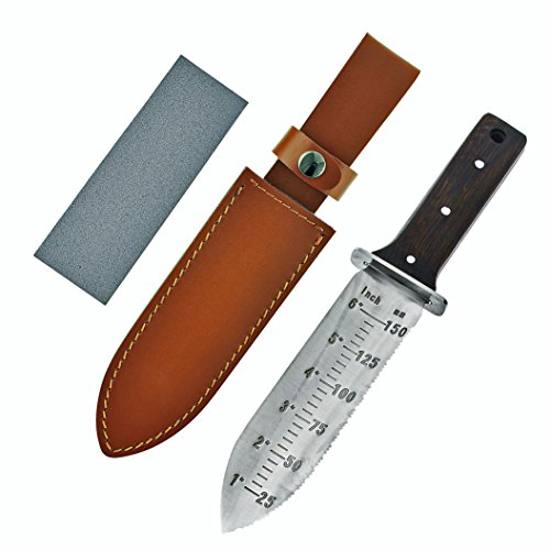 [Japanese Stainless Steel Hori Hori Garden Knife With Free Leather Sheath and Large Sharpening Whetstone-Great Gardening Trowels and Digging Knife Gifts for Master Gardeners Survivalists and Campers] (Japanese Steel Metal)