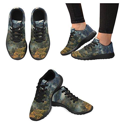 Interessante Donna Da Jogging Corsa Sneaker Leggero Andare Facilmente A Piedi Casual Comfort Scarpe Da Corsa Mattina In Montagne Fumose Alberi Colorati E La Nebbia Multi 1