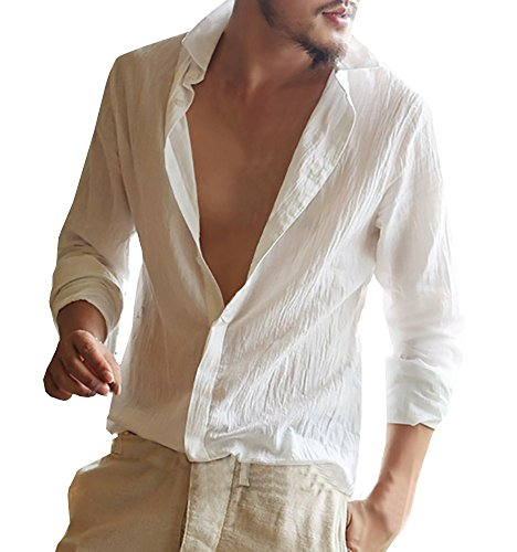 Enjoybuy Mens Linen Cotton Shirts Banded Collar Long Sleeve Casual Button Down Shirts Regular Fit
