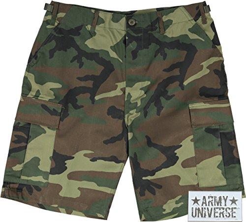Woodland Camouflage Bdu Shorts (Army Universe Woodland Camouflage Military BDU Cargo Shorts Pin Size Large (Waist 35-39