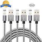 iPhone Charger Youer - 3Pcs 10FT iPhone Lightning Cable Nylon Braided 8pin to USB Charging Cord for Apple iPhone 7/7 plus/6/6s/se/5s/5c/5,iPad Air,Mini/iPod (Dark & Grey)