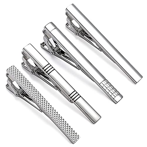 UHIBROS Mens Tie Clip Tie Bar Set for Regular Ties Silver Tone Luxury Gift Box Wedding Business Clip