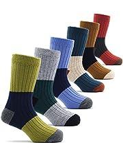 Boys Wool Socks Kids Crew Seamless Winter Warm Thermal Socks 6 Pack